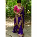 handwoven kadhwa chiffon banarsi saree