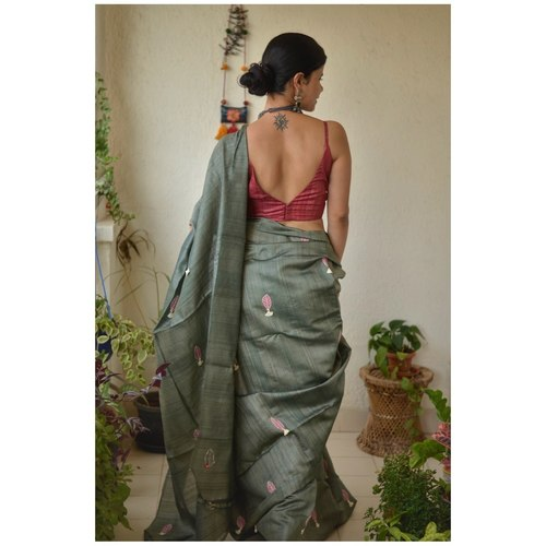 Handwoven and hand embroidery tussar silk saree in natural dye