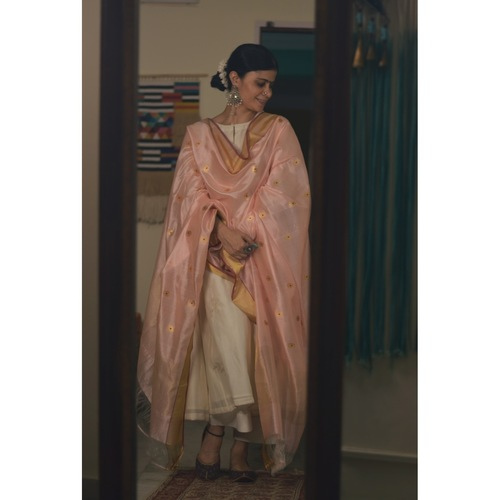 Handllom Chanderi silk dupatta in meenakari motifs in resham and  gold jari