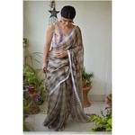 Handwoven check box linen sari with jari pallu