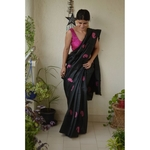 Handwoven and appliqué hand embroidery tussar silk saree in natural dye.