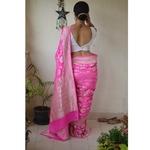 Handwoven banarasi chiffon meenakari motif saree
