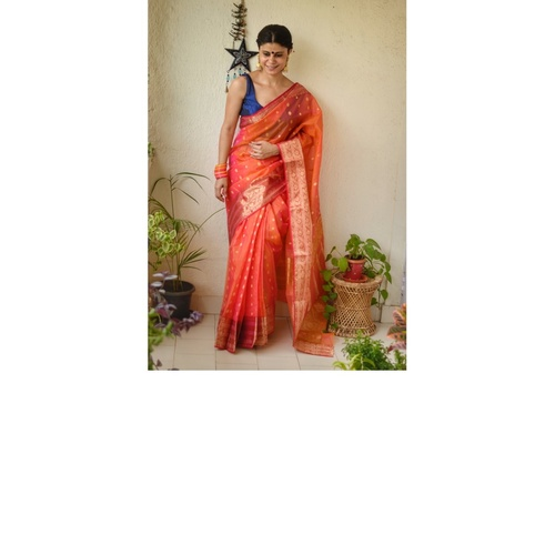 Handwoven Chanderi tissue silk saree with motif and motif  border