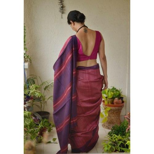 Handwoven  tussar silk saree with Aari silk in pallu and border