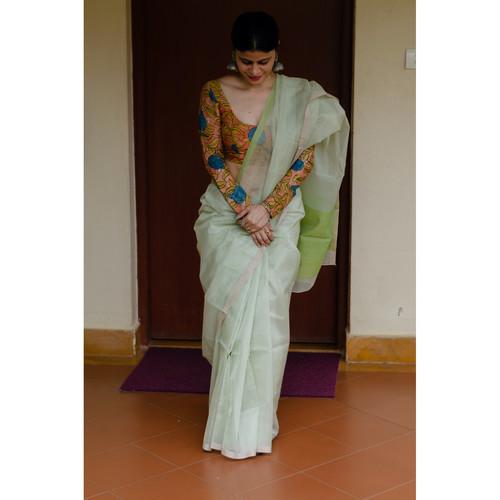 Handloom chanderi silk cotton saree