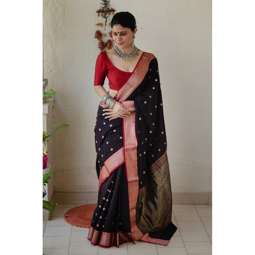 Handwoven muslin saree with the  revival of old paithani design.