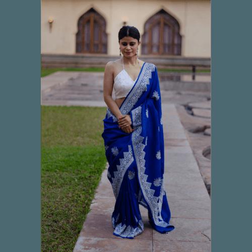 Pure tussar silk handloom banarasi saree