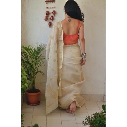 Hand embroidered and handmade  kota doria chikankari saree