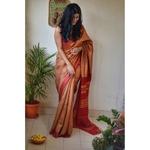Handwoven tussar silk saree with woven  kantha texture.