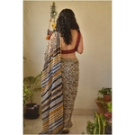 Hand block print natural dye handwoven chiffon saree.