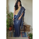 Handwoven linen saree with jari stripes