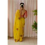 Handloom handembroidered  chanderi tissue  silk saree enhanced with  beads scallops.