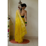Handloom cotton silk chanderi saree with jari motifs.