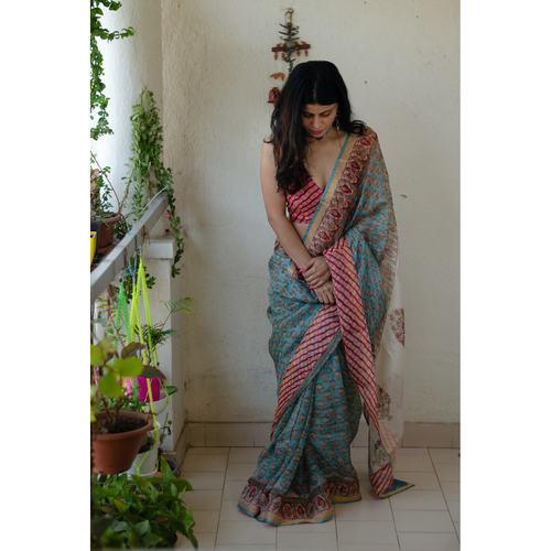 Kota silk  saree in natural dyed handblock print with organza silkchiffon silk patch work border