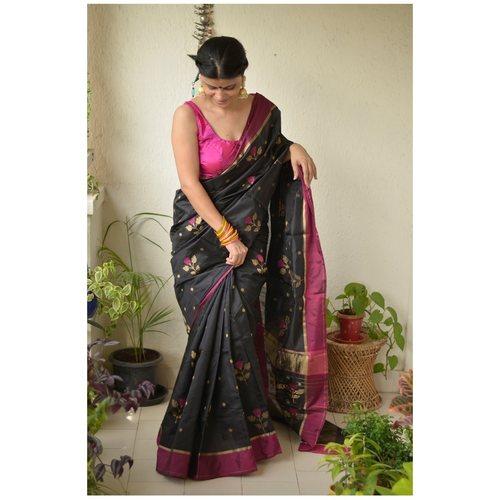 Handwoven Chanderi Pattu silk saree with flower motif and silk border