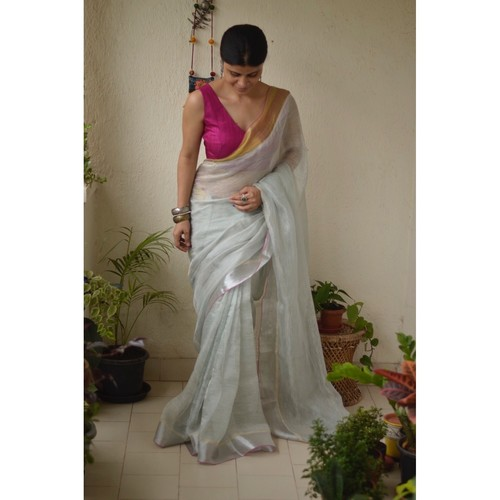 Handwoven jari warp linen saree with silver jari border
