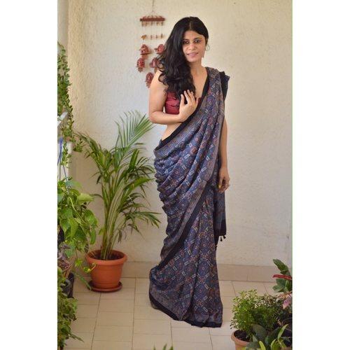 Handblock print modal silk Ajrakh  saree.