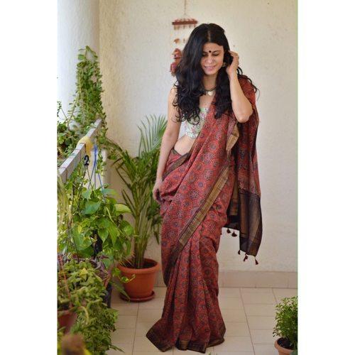 Ajrakh Handblock print mangalgiri cotton  saree with jari border.