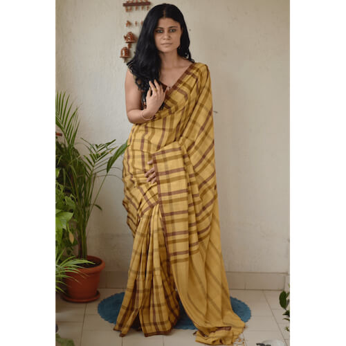 Handwoven cotton checked saree