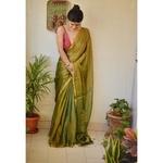 Handwoven Metallic linen saree