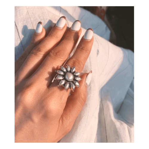 Handmade pure silver with pearl ring