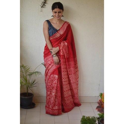 Handwoven and handmade Chanderi silk  saree in  shibori