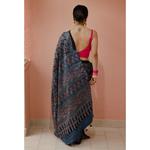 Handblock printed and handmade  processed natural dyed gajji silk Ajrakh  saree.