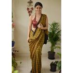 Small Handblock printed and handmade natural dyed Crepe silk Ajrakh  saree.