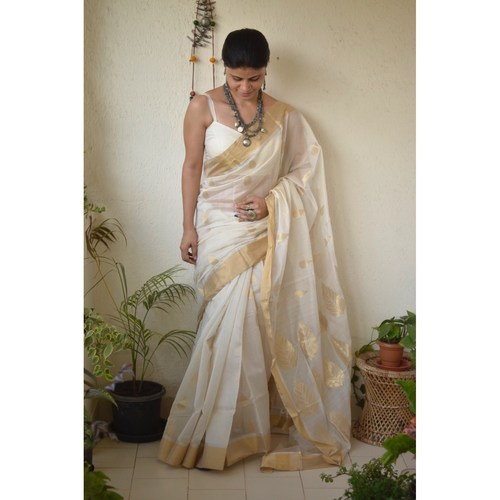 Handwoven Chanderi cotton silk saree