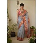 Handwoven Chanderi  silk saree with motif border and meenakari bootis