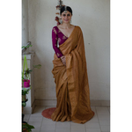 Handloom linen saree  with zari border and pallu with hand embroidered mukaish work.