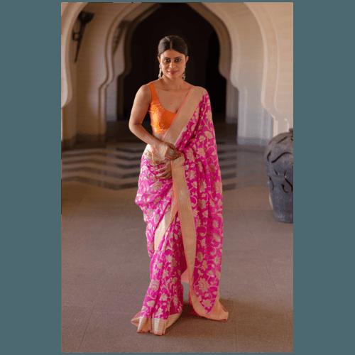 Pure georgette khadi silk handloom banarasi saree