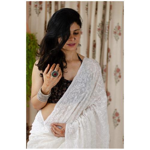 Handembroidered kota doria cotton jaal tippichi chikankari saree.