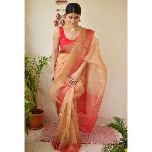 Handwoven organza  2x2 sheer silk saree with banarasi border.