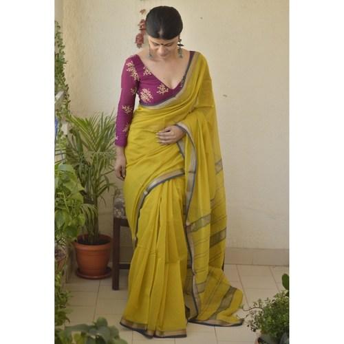 Handwoven Maheswari cotton silk saree with jari border