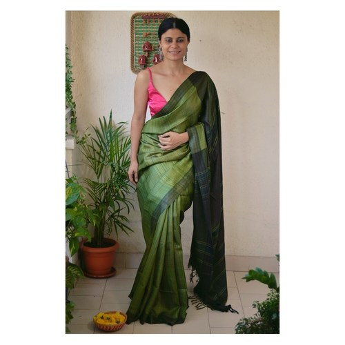 Handwoven tussar silk saree with woven  kantha texture.