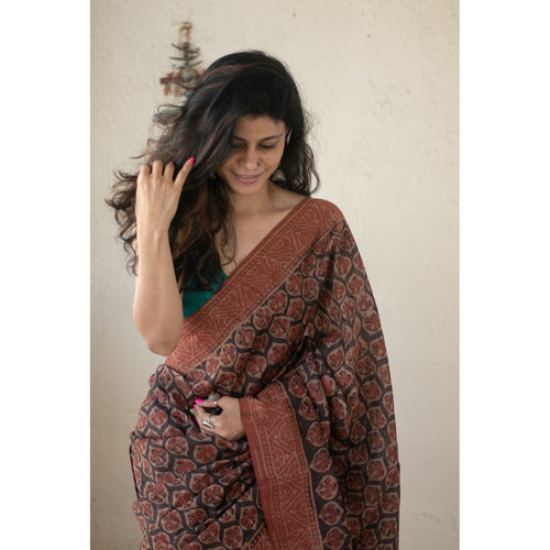 Handloom tussar silk  saree in natural dyed handblock print.