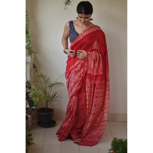 Handwoven and handmade Chanderi silk  saree in  shibori