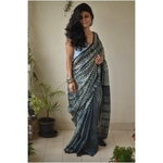 Handwoven and handmade Tussar  silk  saree in  shibori