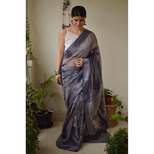Handwoven jari warp linen saree with border work