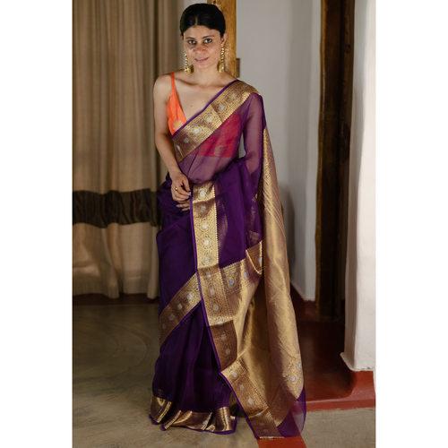 Handwoven organza kora banarasi silk saree.
