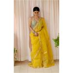 Handloom resham silk chanderi saree with woven motifs.