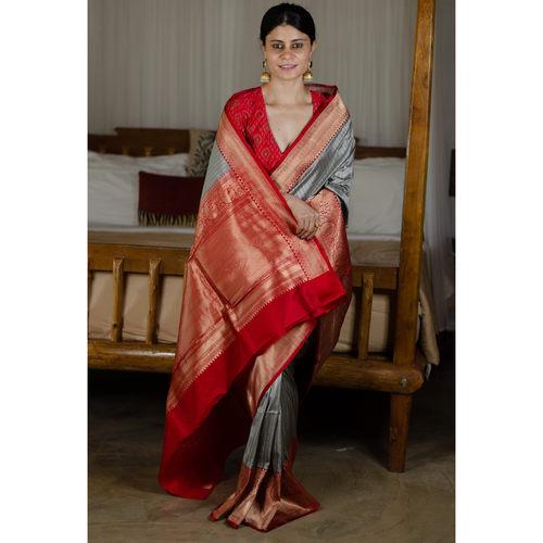 Handwoven red paar jari border katan silk saree