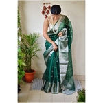 Handwoven organza sheer silk saree with motifs.