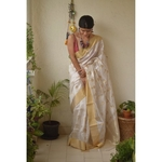 Handwoven Chanderi pattu  silk saree with jari borde