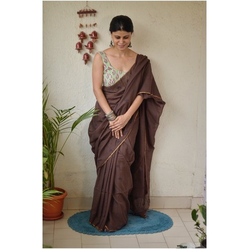 Handwoven jamdani muslin cotton saree