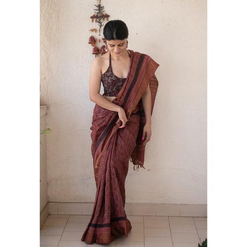 Handloom tussar silk  saree in natural dyed handblock print.