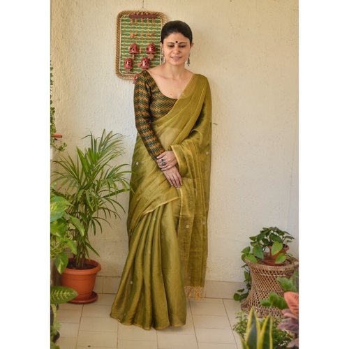 Handwoven metallic linen saree with silver golden jari bootis