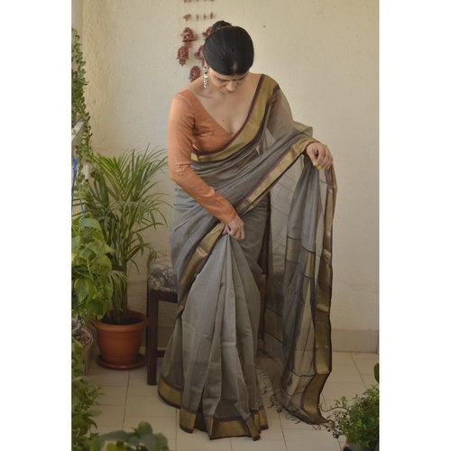 Handwoven Maheswari silk cotton saree