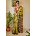 Handwoven tussar silk saree with kantha woven texture.